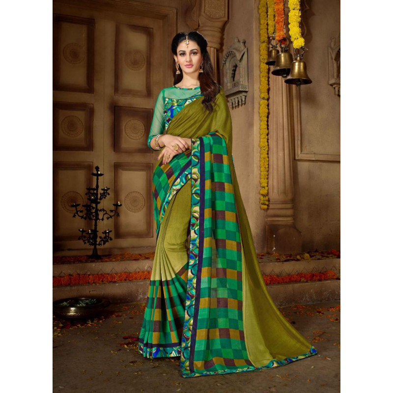Melodic Mehendi Green Vichitra Silk Saree with Multicolor Blouse
