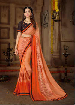 Trendy Peach & Orange Rangoli Georgette Saree with Brown Blouse