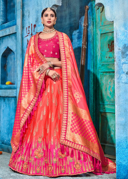 Dazzling Red color Shaded Satin  Designer Lehenga
