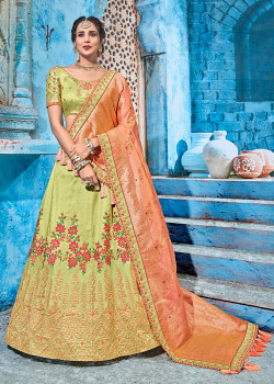 Exotic Green color T silk Gotapatti  Designer Lehenga