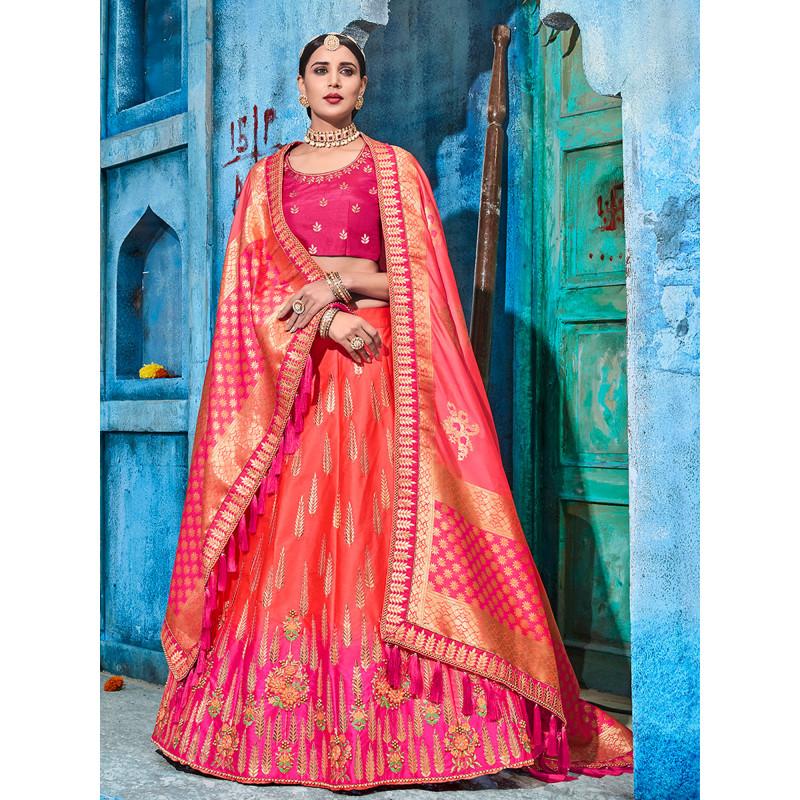 Dazzling Red color Shaded Satin  Designer Lehenga