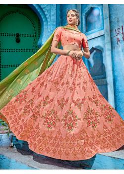 Divine Peach color Coconut Silk  Designer Lehenga