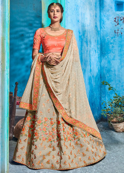 Enigmatic Grey color Pure taffeta Designer Lehenga