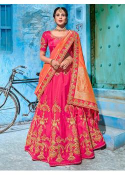 Gorgeous Rani color Banarasi silk Designer Lehenga