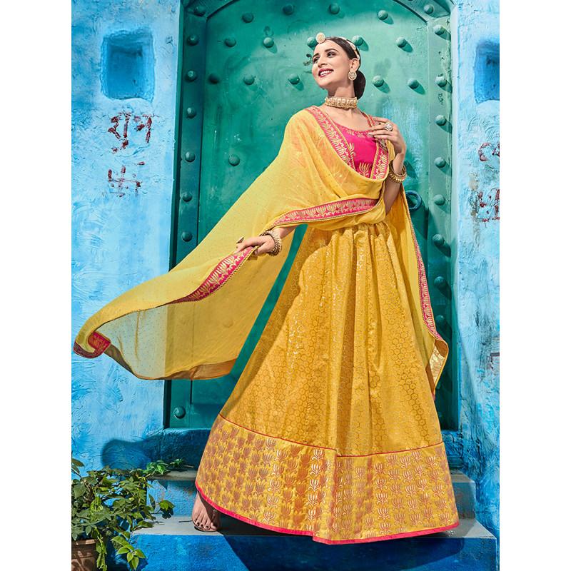 Incredible Yellow color Silk  Designer Lehenga