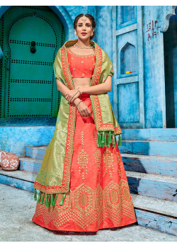 Magnificient Red color T silk gotapatti  Designer Lehenga