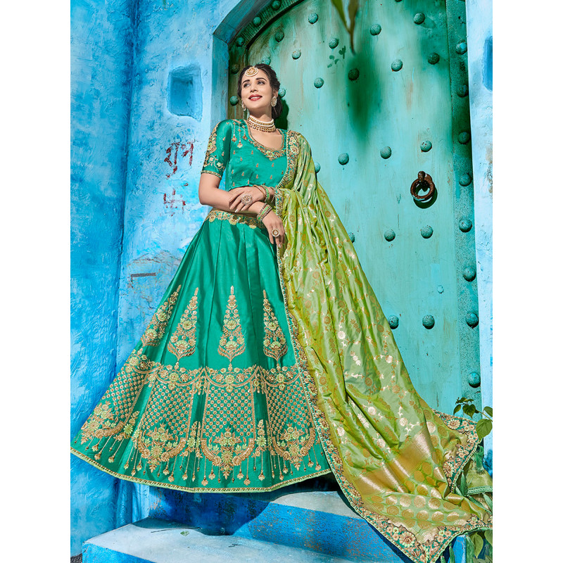 Plushy Green color Satin Designer Lehenga