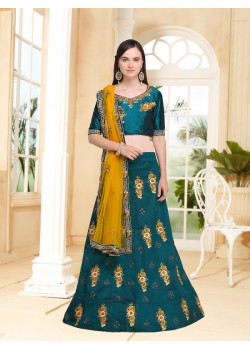 Adorable Green color Velvet Silk Designer Lehenga