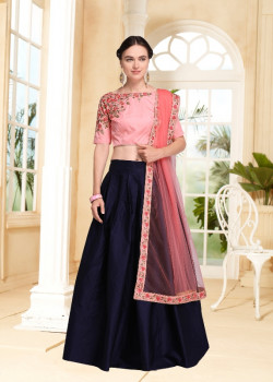 Flamboyant Blue color Satin Silk Designer Lehenga