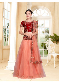 Luscious Peach color Net Designer Lehenga