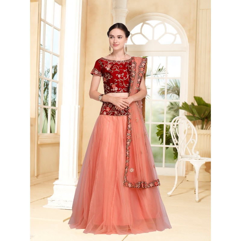 Luscious Peach color Net Designer Lehenga