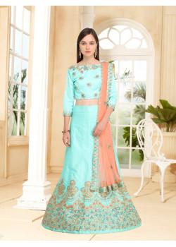 Trendy Firoji color Silk Designer Lehenga