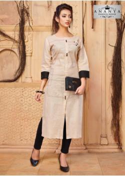Trendy Beige Khadi Cotton Readymade Kurti