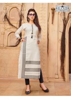 Adorable Off White Khadi Cotton Readymade Kurti