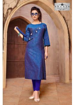 Classic Blue Khadi Cotton Readymade Kurti