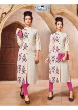 Luscious Off White Khadi Cotton Readymade Kurti