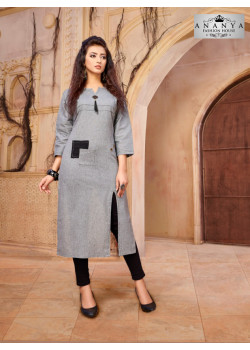 Melodic Grey Khadi Cotton Readymade Kurti