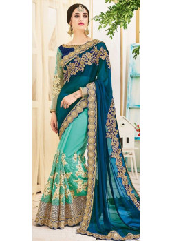 51e75fe4f9874 Charming Rama Firozi Georgette- Paper Silk Saree with Rama Firozi Blouse