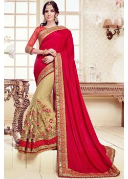 Dazzling Red Chiku Net Chiffon  Saree with Red Blouse