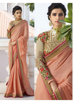 Divine Peach Vichitra Saree with Cream Blouse