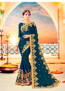 Gorgeous Teal Green Chiffon Saree with Teal Green Blouse