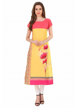 Gorgeous Pink, Yellow American Crepe Readymade Kurti