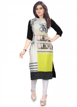 Magnificient Multicolor American Crepe Readymade Kurti