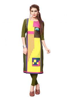 Enigmatic Multi Color As per Image American Crepe Readymade Kurti