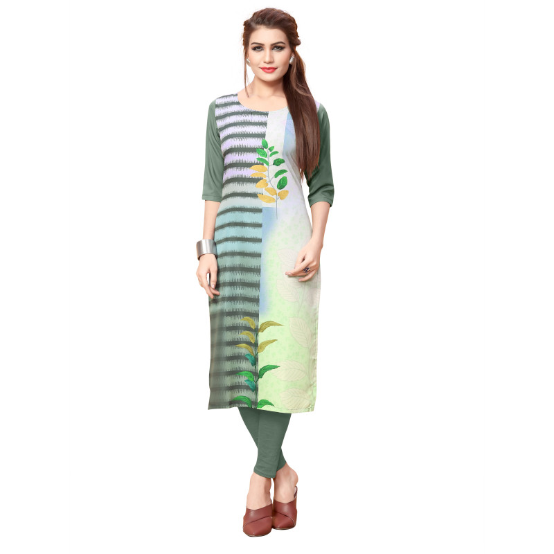 Melodic Multi Color As per Image American Crepe Readymade Kurti