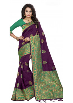 7072cbc2d505b Gorgeous Purple Silk Saree with Green Blouse