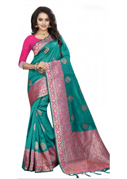 4c5cd7f608a1f Exotic Green Silk Saree with Pink Blouse