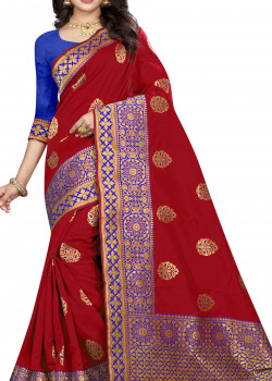 Magnificient Red Silk Saree with Blue Blouse