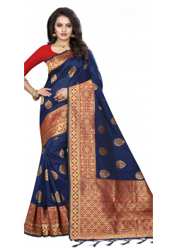 Divine Blue Silk Saree with Red Blouse