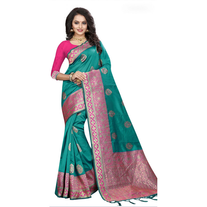 Exotic Green Silk Saree with Pink Blouse