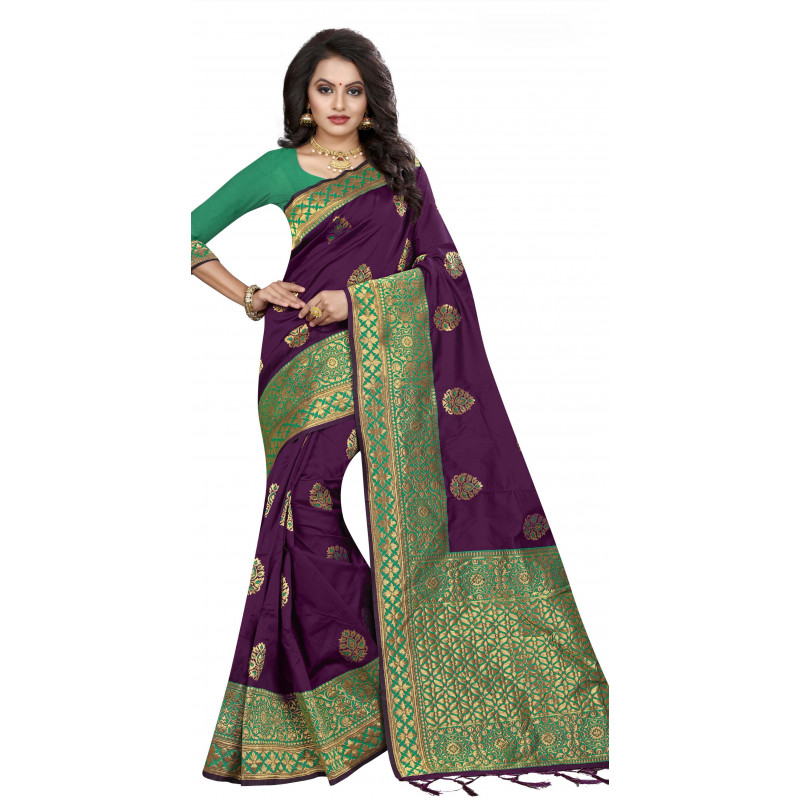 Gorgeous Purple Silk Saree with Green Blouse
