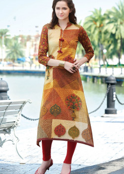 Charming Multy Color Semi Rayon Readymade Kurti