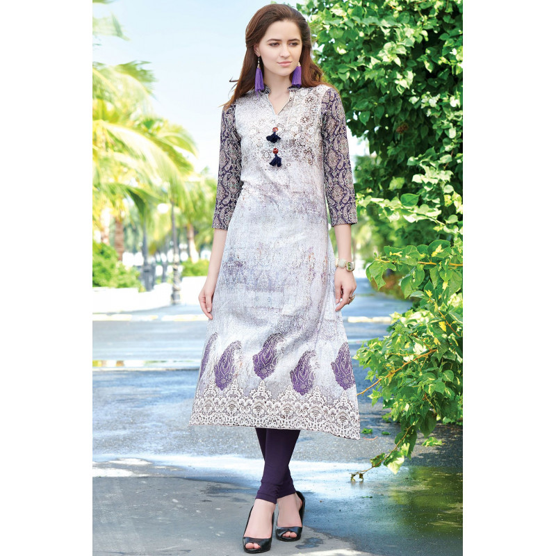 Dazzling Multy Color Semi Rayon Readymade Kurti