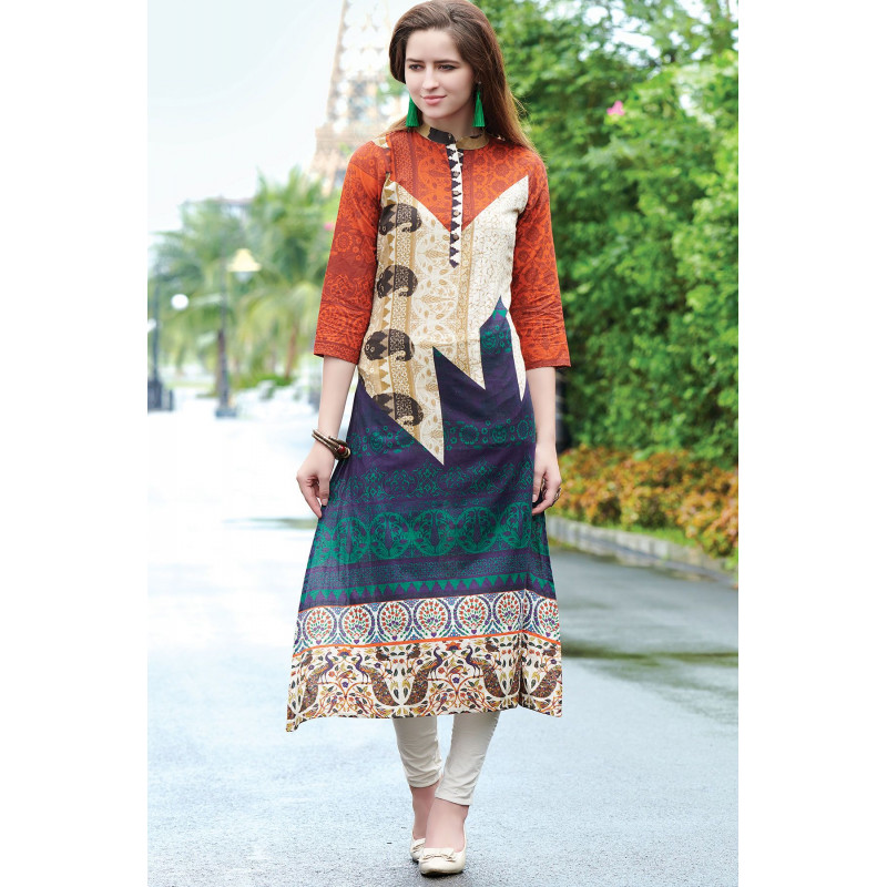 Enigmatic Multy Color Semi Rayon Readymade Kurti