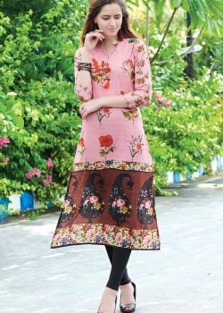 Flamboyant Baby Pink Semi Rayon Readymade Kurti