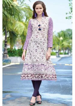 Gorgeous Purple White Semi Rayon Readymade Kurti