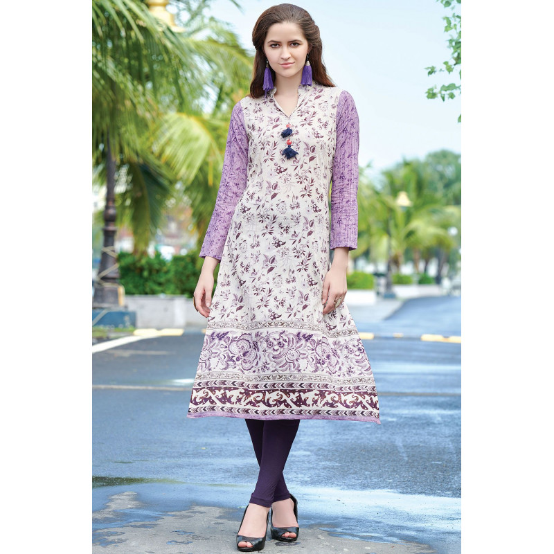 Gorgeous Purple White Semi Rayon Readymade Kurti