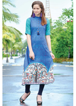 Incredible Blue Semi Rayon Readymade Kurti