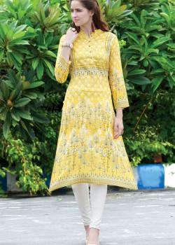 Melodic Yellow Semi Rayon Readymade Kurti