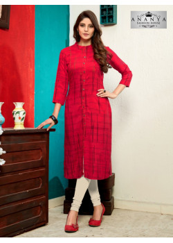Enigmatic Red Heavy Rayon Readymade Kurti