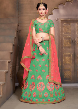Incredible Green color Silk Designer Lehenga