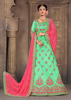 Luscious Green color Silk Designer Lehenga
