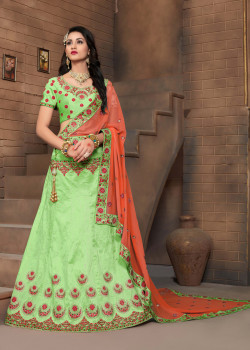 Dazzling Green color Silk Designer Lehenga