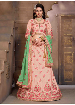 Adorable Pink color Silk Designer Lehenga