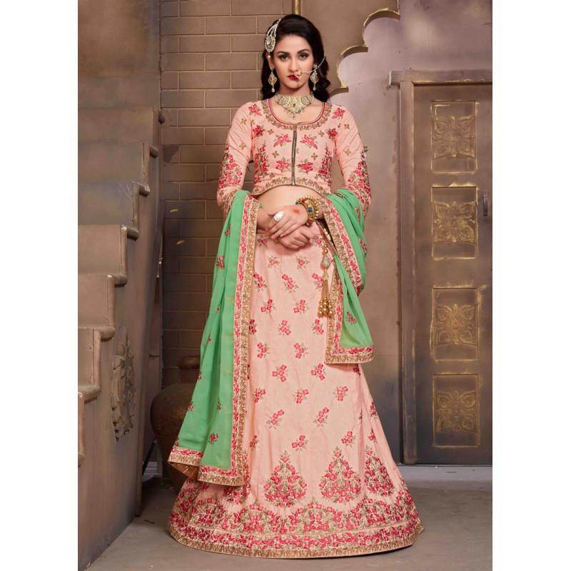 Adorable Pink color Silk Designer Lehenga
