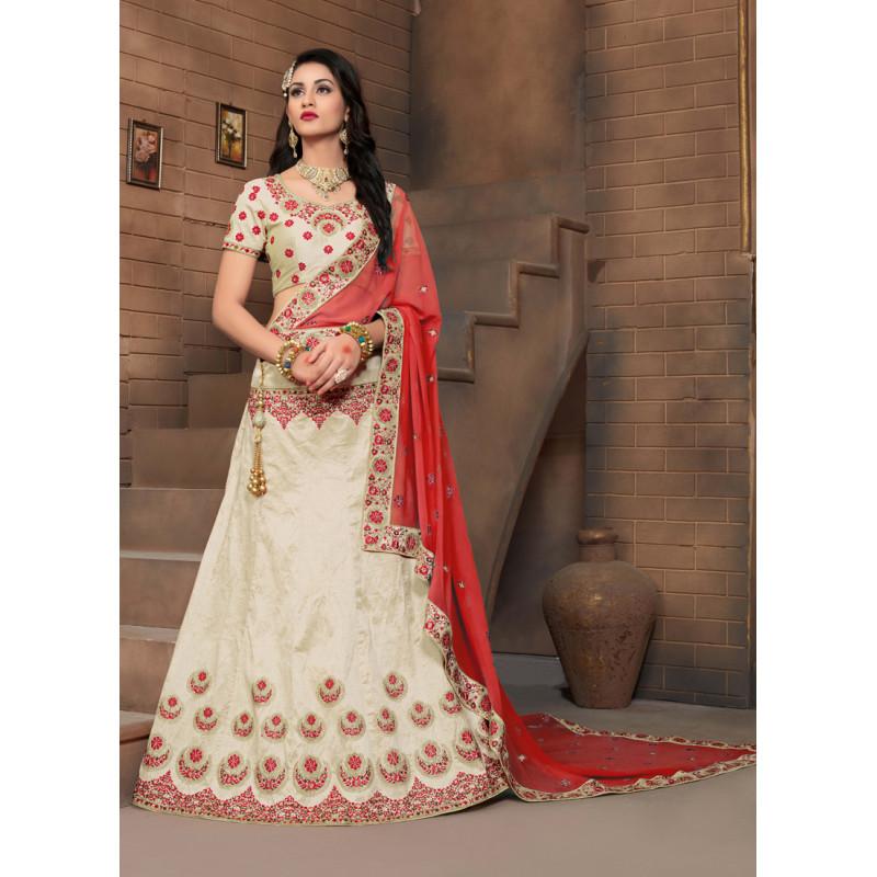 Charming Cream color Silk Designer Lehenga